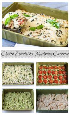 Chicken Zucchini Tomato and Mushroom Casserole
