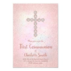 big diamond cross First Communion girl Invitation   Zazzle.com