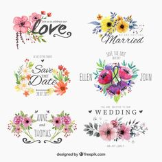 Set of watercolor floral badges for wedding Free Vector Watercolor Design, Watercolor Flowers, Watercolor Logo, Photos Hd, Flower Logo, Watercolor Wedding Invitations, Free Wedding, Wedding Set, Trendy Wedding