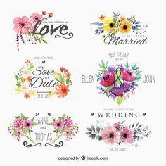 Set de insignias floridas de acuarela para boda  Vector Gratis
