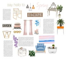 """say hello to spring"" by naleland on Polyvore featuring interior, interiors, interior design, dom, home decor, interior decorating, West Elm, Laura Cole, Nuevo i Distinctive Designs"