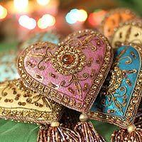 Beaded ornaments, 'Season of Love' (set of 6) (India)