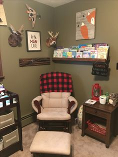 Love the bookshelf next to the glider along with the sign hanging from it Baby Bedroom, Baby Boy Rooms, Baby Room Decor, Baby Boy Nurseries, Nursery Room, Country Boy Nurseries, Babies Nursery, Baby Boys, Boy Nursery Themes