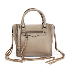 Rebecca Minkoff Graphite Silver Zip Mini Regan Tote featuring polyvore, women's fashion, bags, handbags, tote bags, grey, zipper tote, mini tote bags, gray tote bag, rebecca minkoff tote and mini handbags