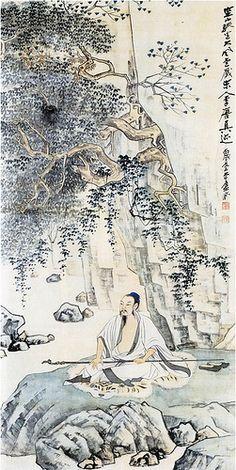 张大千-空山趺坐图 Zhang Daqian's Recluse by China Online Museum - Chinese Art Galleries
