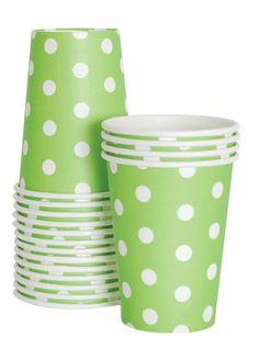 Paper Cups - Green Polka Dots