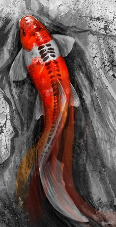 Flowing Koi Mixed Media by Steve Goad...a really awesome looking watercolor tattoo potential.