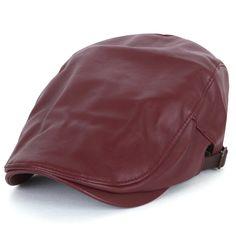 ililily Faux Leather Newsboy Flat Cap Cabbie Hat Gatsby Ivy Driver Hunting  Hat (flatcap-693-4) 3e87f212b13