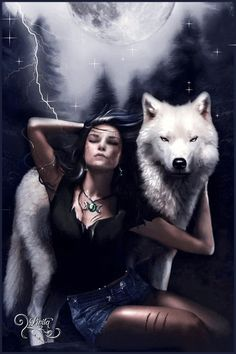 Woman and white wolf by Livita Silva