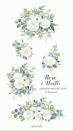 Pretty white rose and thistle watercolour clipart elements, this set is five bouquets of floral prettiness. Ideal for creating your own wedding stationery, designing greetings cards or even your own business logo.