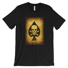 Ace of spades Unisex short sleeve t-shirt Playing Cards Art, Ace Of Spades, Half Sleeves, Baby Knitting, Cool T Shirts, Looks Great, Shirt Designs, Unisex, Cotton