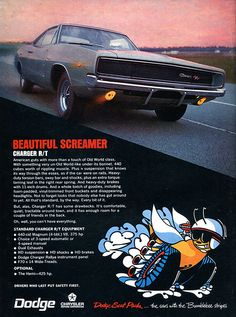 1968 Chrysler Dodge Charger RT Advertising Road & Track July 1968