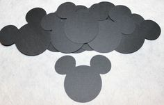 "Disney Mickey Ears Head 3"" Die Cuts LOT of 10 Black Textured, 4 Cards, Scrapbook #Handmade"