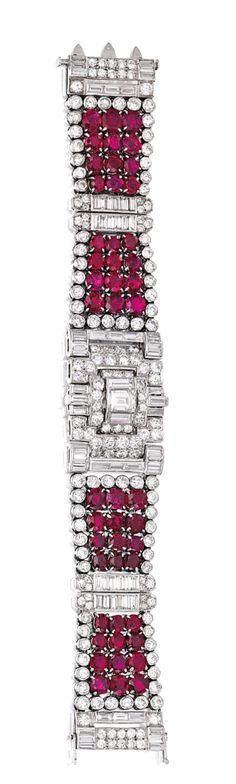 Platinum, ruby, diamond bracelet, Cartier, London, c. 1935