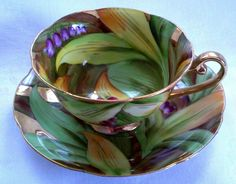 Vintage Gold and Floral Tea Cup and Saucer Set Made in Occupied Japan