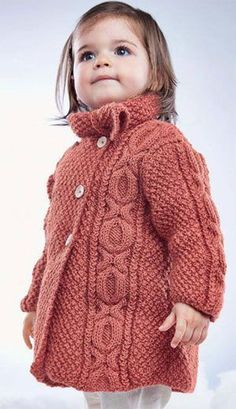 Little girl's Cable Coat FREE knitting pattern (2/4) (hva)