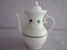 Antique Hard Paste Porcelain Large Tea Pot W/Green Enameled Decoration