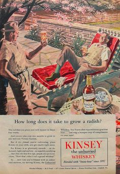 1945 Vintage Advertisement Illustration Graphics 1940s Kinsey Whiskey - latent homosexual themes