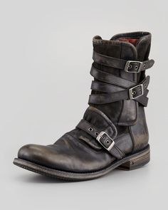 john varvatos distressed leather boot | John Varvatos Multistrap Buckle Boot Charcoal in Gray for Men ...