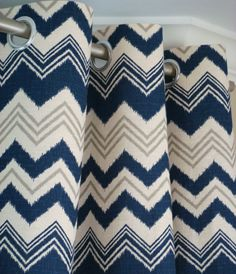"Pair Of Custom Modern Chevron Ikat Designer Grommet Curtain Drapery Panels 50""Wide x 84"" Long Navy Natural Gray Blindstitched"