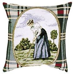Ladies' Green Golf Sports Decorative Tapestry Pillow