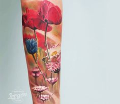 Realistic Flowers Tattoo by Levgen Eugene Knysh | Tattoo No. 13371