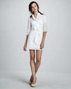 Eyelet Shirt Waist Dress - Lyst