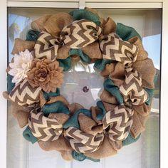 Burlap chevron teal wreath neutral colors! So cute!!