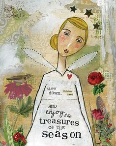 """Feels like perfect timing to """"Slow down, and enjoy the treasures of the season."""" How's your Christmas heart doing? Mixed Media Canvas, Mixed Media Art, Kelly Rae Roberts, Christmas Hearts, Christmas Stuff, Christmas Images, Angel Drawing, Holiday Pictures, Peace On Earth"""