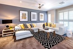 Take a look at this black, yellow and white living room from The Life Creative reader Cathy Elsemore - lots of living room decorating inspiration! Grey And Yellow Living Room, Grey Walls Living Room, Living Room Color Schemes, Living Room Grey, Living Room Designs, Gray Walls, Colour Schemes, Bedroom Yellow, Living Rooms