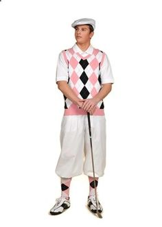Pair this White/Pink/Black/Light Blue Overstitch sweater vest and socks with white golf knickers and cap to make this Mens Complete Golf Knickers Outfit.