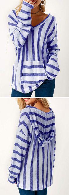 Blue Long Sleeve Striped Hooded Collar T Shirt