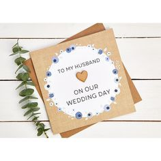 To my husband our wedding day❤️ We love this  cute hand crafted wedding card.