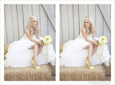 love this blonde bride yellow flowers shoes hay wood fence barn christine bentley photography makeup hair waves loose curls waterfall braid