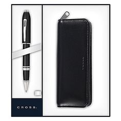 Peerless 125 Rollerball Pen with Black Leather Pen Pouch With Platinum Plated appointments
