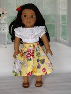 18 inch doll skirt and midriff blouse. Fits American Girl