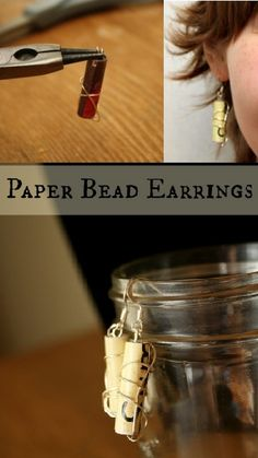 So cute and easy!  Paper bead earrings tutorial.  They look like tiny scrolls!!!