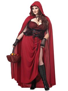 Dark Red Riding Hood Women's Curvy Costume - Fairytale Adult Costumes