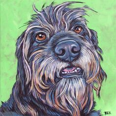 """Bridgette the Poodle and Boxer Mixed Breed Irish Wolfhound lookalike Dog Custom Pet Portrait Memorial Painting in Acrylics on 8""""x 8"""" Stretched Canvas from Pet Portraits by Bethany."""