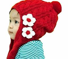 Demarkt Baby Girls Winter Warm Knitted Earflap Flowers Hats Caps Infant Beanie Fantastically Fun Childrens Novelty hat Cap / Available in Various Colours. Keep your little ones heads looking and feeling cool with these fantastically designed beret caps.  Plea http://www.comparestoreprices.co.uk/kids-clothes--girls/demarkt-baby-girls-winter-warm-knitted-earflap-flowers-hats-caps-infant-beanie.asp