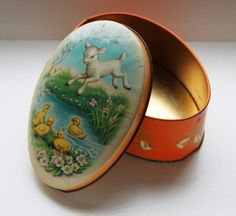 Vintage Belgian chocolate tin Easter egg by IdyllicImageries