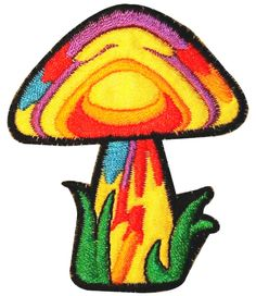"[Single Count] Custom and Unique (2 1/4"" by 2 3/4"" Inches) Psychedelic Hippie Forest Mushroom Iron On Embroidered Applique Patch {Yellow, Purple, Blue, and Green Colors}"