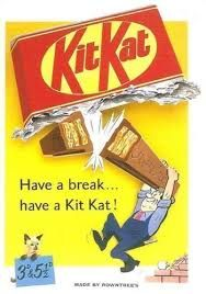 """Slogan – this advertisement features the kitkat slogan, """" have a break, have a kit kat"""" which is an authentic kitkat slogan."""