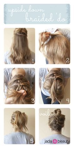 Upside Down Braid Bun | 22 No-Heat Styles That Will Save Your Hair