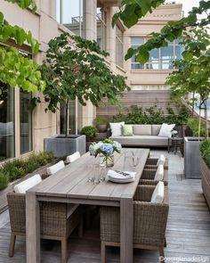 "Georgiana Design - ""Upper West Side Terrace I. - Georgiana Design – ""Upper West Side Terrace I. Terrace Design, Patio Design, Design Design, Design Ideas, Terrace Decor, Design Homes, Plan Design, Modern Design, Outdoor Rooms"