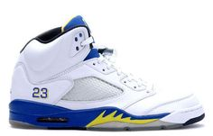 "This is the 136027-189 Air Jordan 5 Laney 2013 which features a white, varsity maize, varsity royal, and black color combination. This ""Laney"" edition was the first ever new retro color way to release back when the AJ5 model was retroed in 2000. Air Jordan 5 Laney White/Varsity Maize-Varsity Royal-Black 136027-189 Our Price :$129.99    http://www.jordankicksonfires.com/136027-189-air-jordan-v-laney-white-varsity-maize-varsity-royal-black-678.html"