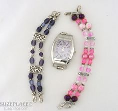 Purple Swap Watch 2 DIY Hand Made Pink Purple Bead Bands Silver Tone Case SuzePlace.com