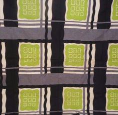 Vtg Barkcloth Fabric Mid Century Modern Abstract Green Black Geometric Atomic