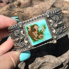 BEMINE Stunning Sterling And Royston Turquoise Cuff Bracelet, Signed and Stamped Coral Turquoise, Turquoise Jewelry, Turquoise Bracelet, Aqua, Moon Earrings, Beaded Necklace, Stud Earrings, Vintage Jewelry, Handmade Jewelry