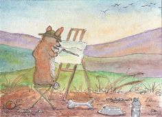 Welsh corgi dog orig ACEO painting by Susan Alison ATC landscape artist painting